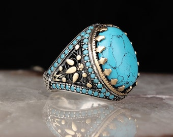 Valentines Day Gift for Him Tiger Eye Sterling Silver Turkish Ottoman Style Jewelry Turquoise Large Ring Men Firuze Handengraved Gemstone