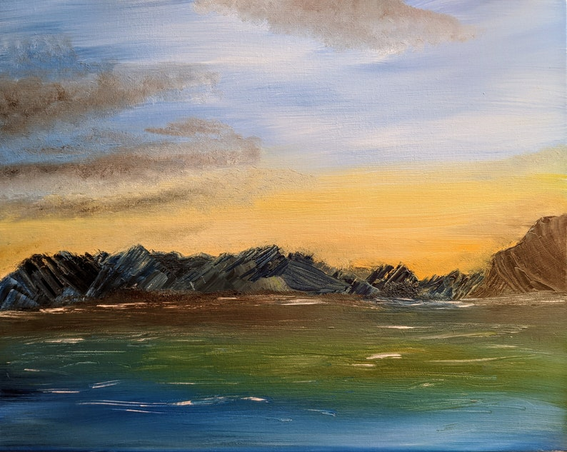 Original Oil Painting Fires to the West