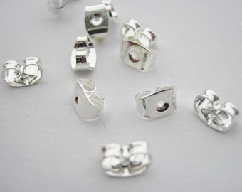 Large solid 950 platinum large earring backs scrolls butterfly scroll for posts
