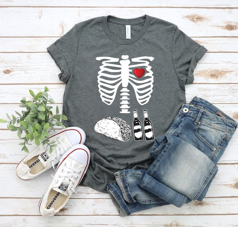 Beer Tacos Skeleton X-Ray Funny Halloween Costume T-shirt|Happy Halloween T-shirt|Beer Tacos Halloween T-Shirt|Halloween Fan TR953080