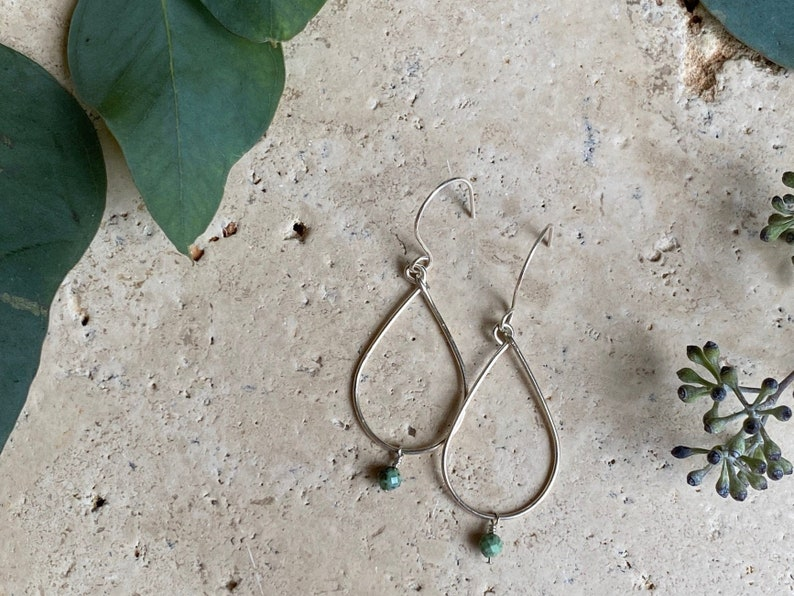 Sterling silver African Turquoise gemstone teardop shaped earrings and necklace set