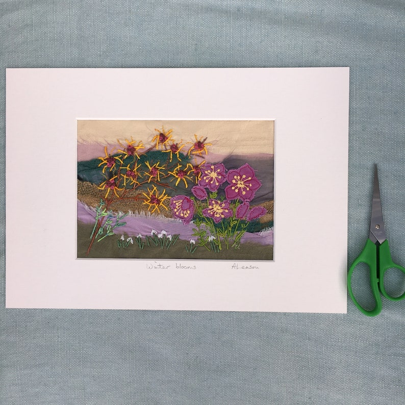 Winter blooms Textile Art Stitched Art Embroidery Art Hellebores Embroidered picture Nature inspired Stitched flowers Winter flowers