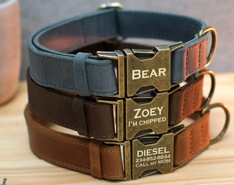 Personalized Dog Collar, Leather Dog Collar with Name, Engraved Dog Collars, Custom Dog Collar, Dog Collar Brown Pink Blue Green