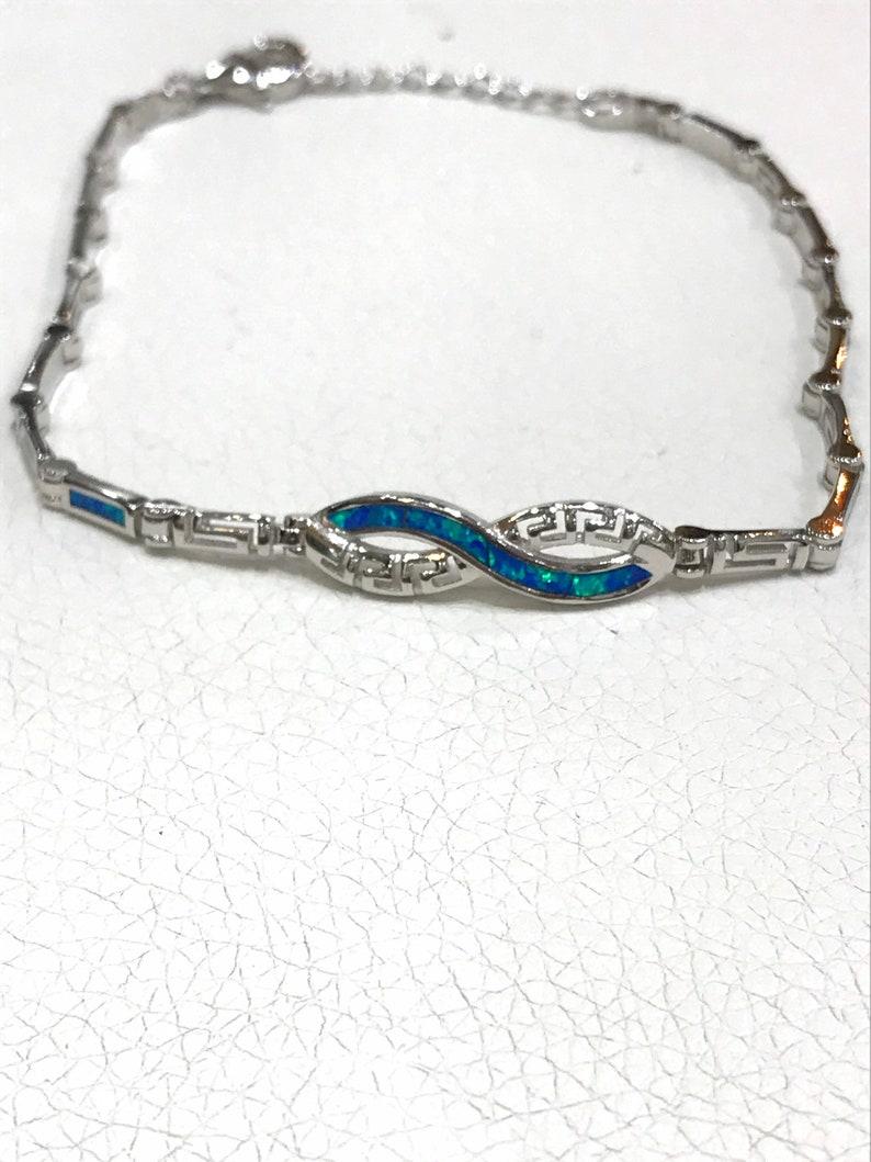 Greek design blue opal bracelet in sterling silver