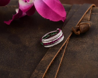 Natural Ruby Blue Sapphire And Diamond Studded Flip Silver Ring Flip Ring For Women Precious Stone Ring for Her
