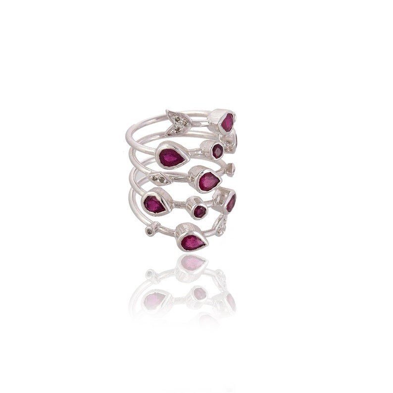 Ruby Band for Women Ruby and Diamond Band For Her Natural Ruby and Diamond Statement Band in Silver