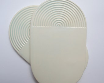 Oval ceramic tray, handmade, mint glaze, geometric design, for tea and biscuits, for cheeses and cold appetisers