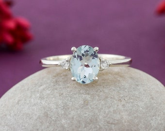 Aquamarine Ring, March Birthstone Ring, Woman Ring, Wedding Ring, Engagement Ring, Oval Ring, Beautiful Ring, Gift For Her, Gift For Mother