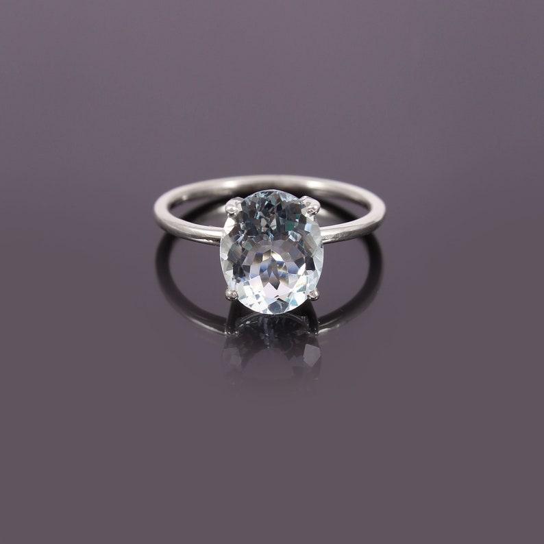 Blue Aquamarine Ring Natural Aquamarine March Birthstone Ring Anniversary Ring Solitaire Ring Aquamarine Ring Silver Ring