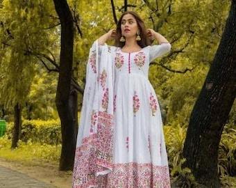 Blue,White,Salwar,Shalwar,Kameez,Dupatta,Readymade,Women,Suit,Indian,Pakistani,Palazzo,Suit,Print,Rayon,Kurti,Kurta,Dress,Ladies,Girls,Uk