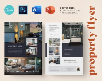 Modern Real Estate Agent Listing Flyer Template   Luxury Realtor Flyers   Open House Flyer   Edit in Canva, Word, Powerpoint + Photoshop