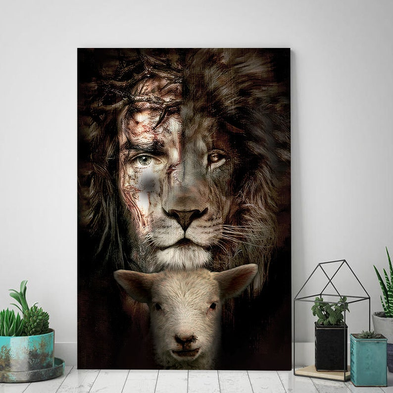 Jesus Lion And Lamb The Perfect Combination Canvas Lion Of image 0