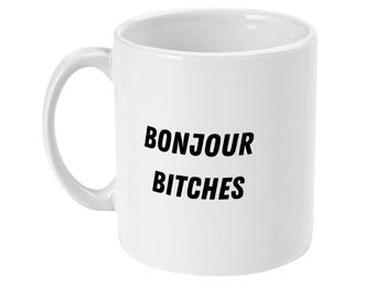 T0174 Bonjour Bitches Tote Bag Funny Tote Bag Personalized Tote Bag.Novelty Birthday Gift Present Christmas.