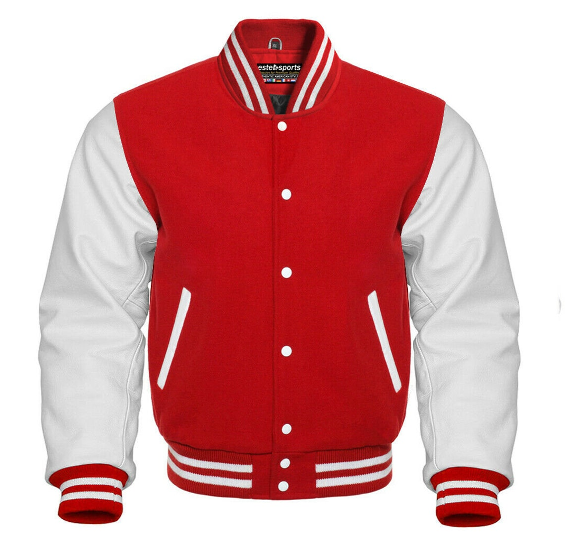 Varsity Bomber Letterman Baseball Red Wool & White Leather Sleeves Jacket
