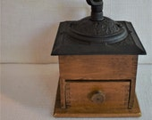 Vintage Box Wood And Cast Iron Coffee Grinder 11 quot x 6 quot