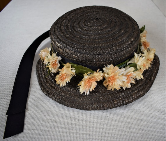 Antique Edwardian Childs Straw Hat With Silk Flowe