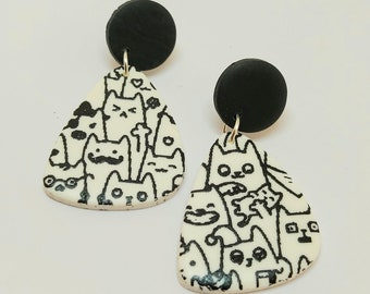 Black and white polymer clay cat earrings