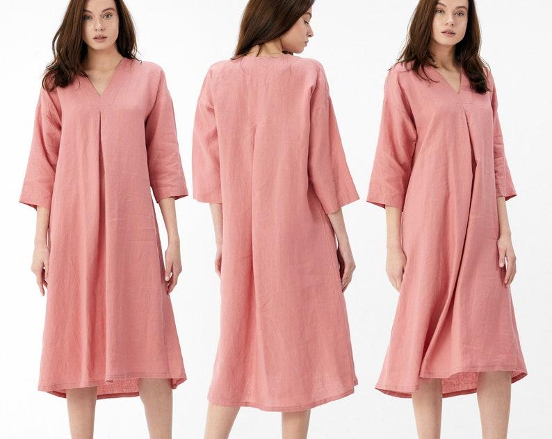 V Neck Linen Dress with Belt   Loose Linen Dress   Summer Dress   3/4 Sleeve Linen Dress- 1007 - Mothers Day Gift - Gift for Her