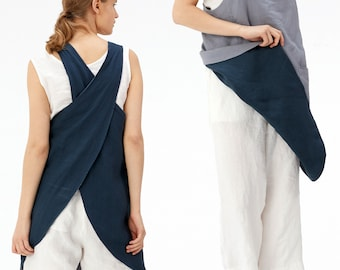 Cross Back Linen Apron with Pockets   Reversible 2 Color Japan Linen Apron with No Ties   Christmas Gift   Gift for Her - 1016-2
