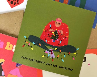 Step Dad Christmas Card, Funny Christmas Greeting Card, Step Father Card, Eco-Friendly