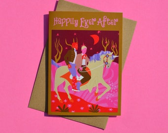 Happily Ever After Gay Greeting Card, Anniversary, Wedding, LGBTQ, Pride, Valentines Day, Engagement, Love, Boyfriend, Husband