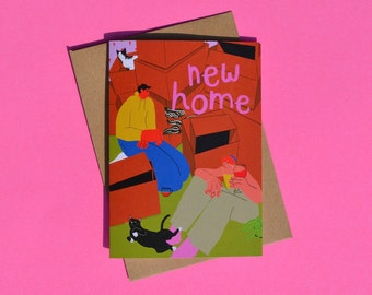 New Home Greeting Card, Moving, Housewarming, Congrats, Straight Couple, Housemates, Cat-Lovers, Eco-Friendly