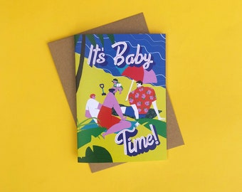 It's Baby Time - Two Dads New Baby Card, New Arrival, Adoption, LGBTQ+ Greeting Card, Same Sex Parents, Gay, Pride, Eco-Friendly