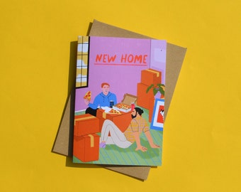 New Home Greeting Card for Two Men, Moving, Housewarming, Congrats, Gay Couple, LGBTQ+, Queer, Roommates, Housemates
