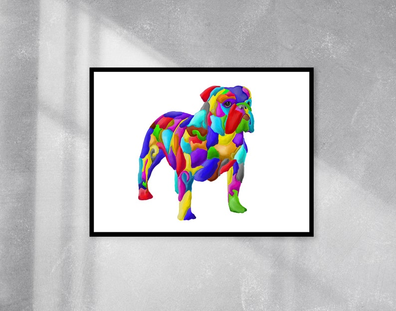 Gift idea for dog lover or house warming present Print of abstract colourful bulldog available in various sizes portrait or landscape