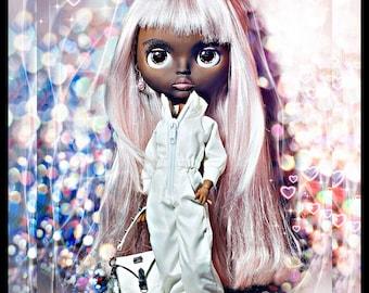 Blythe custom doll super dark skin not for children.