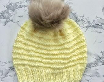 Yellow Knit Hat // Diagonal Swirl Hat // Gift under 30 // Gift for her // Knit Beanie // Handknit // Spring Essentials // Winter Essentials