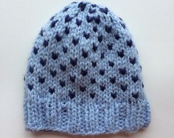 Blue Winter Knit Hat // Blue Fair Isle Knit Hat // Chunky Knit Hat