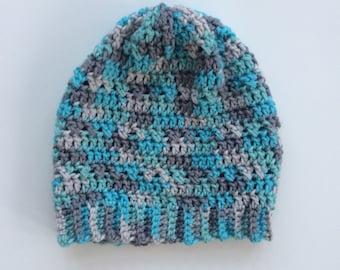 Blue Crochet Hat // Blue Winter Hat // Blue, Tan , and Gray Hat
