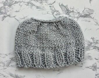 Silver Messy Bun Hat