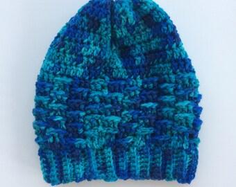 Blue Crochet Hat // Basketweave Stitch Hat // Blue Winter Hat