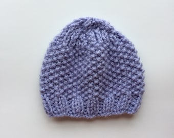 Purple Winter Knit Hat // Seed Stitch Hat // Chunky Knit Hat // Gift under 30 // Winter Essential // Gift for her // Knit Beanie // Handknit