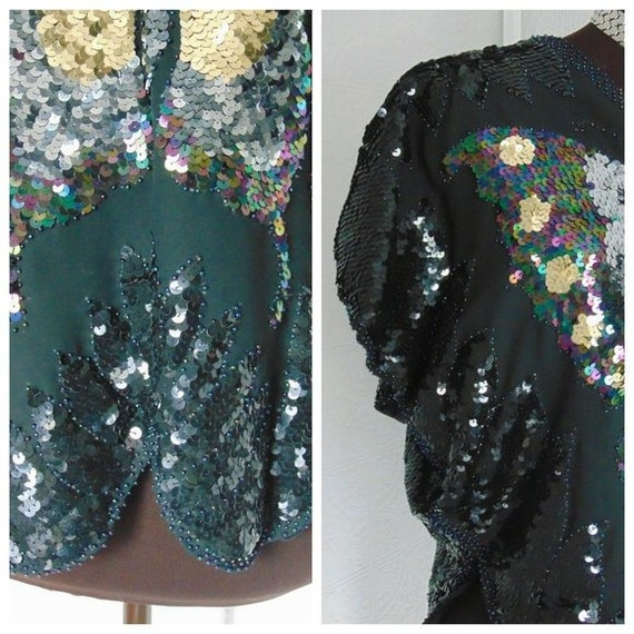 Vintage 70s Sequin Butterfly Top Vintage Disco To… - image 3