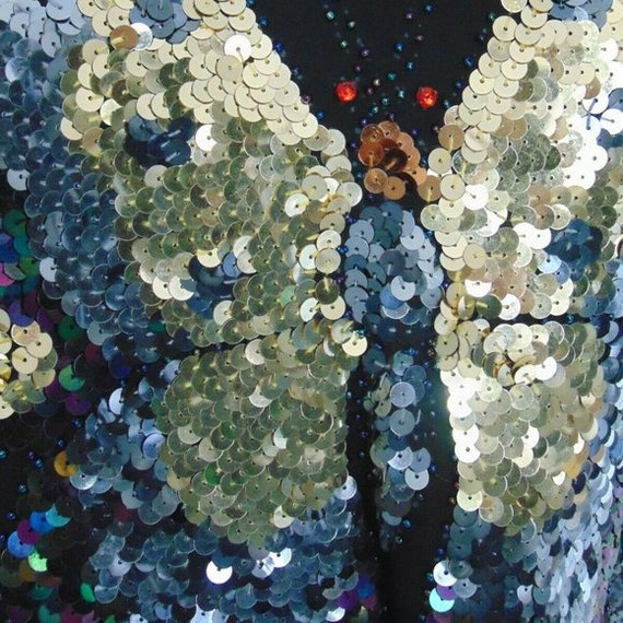 Vintage 70s Sequin Butterfly Top Vintage Disco To… - image 6