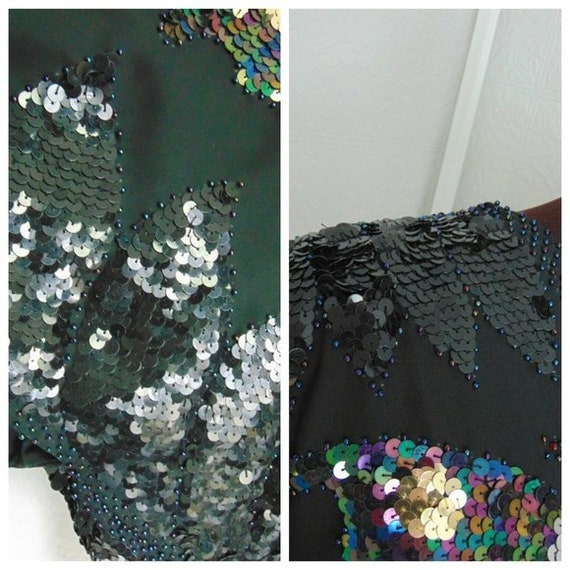 Vintage 70s Sequin Butterfly Top Vintage Disco To… - image 4
