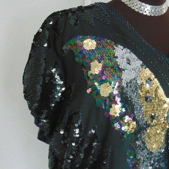 Vintage 70s Sequin Butterfly Top Vintage Disco To… - image 2