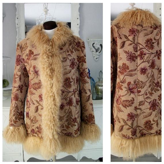 Vintage 70s Boho Hippie Tapestry Coat Mongolian Fu