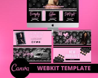 DIY Web Design Kit, Web Banners, Hair Banners, Web Kit Template,  Hair Website, Beauty Website