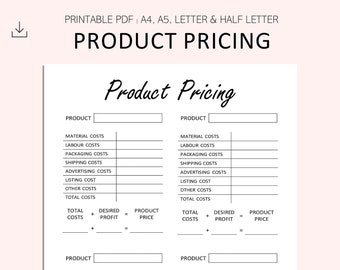 Product Pricing Printable - Item Pricing - Product Price Calculator -  Business Costs - Small Business -PDF - A4 - A5 - Letter - Half Letter