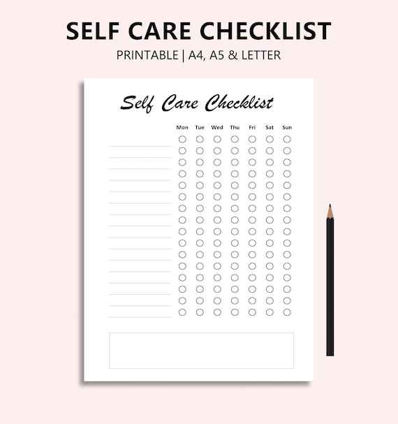 Self Care Checklist Printable PDF Routine Checklist Habit