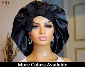 Satin Stretch Tie Bonnet | Single and Double Layer Available | Great for All Hair Types