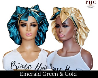 All Satin Reversible Tie Bonnet |  Satin-Lined Satin Ties | Multiple Colors Available