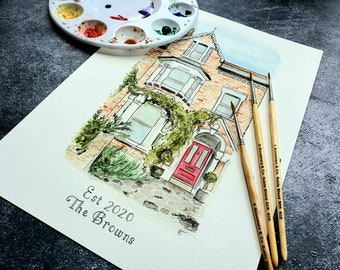 custom watercolour house portrait, greetings card, personalised house warming gift, new home, handpainted house painting, first home drawing