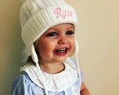 Baby toddler boy girl personalised embroidered knitted Pom Pom hat with straps in white pink blue