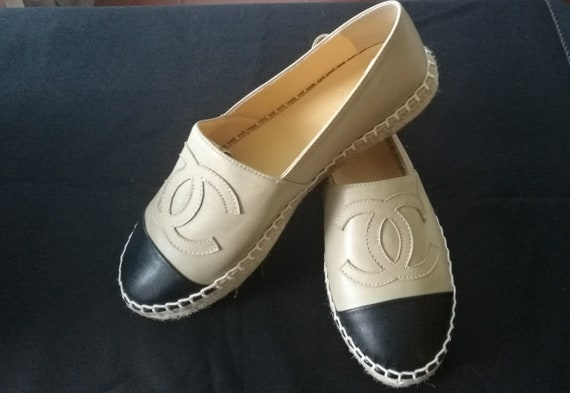 Women's beige and black espadrille loafer shoes