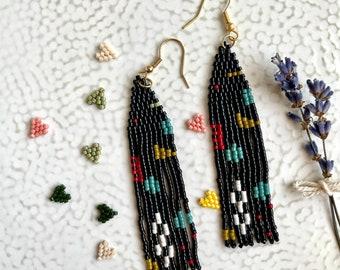 Black abstract art earrings,Fringe Earring,Long Seed Bead Earrings,Geometry,Gift for Women,Boho Tribal Jewellery,Long Seed Bead Earrings